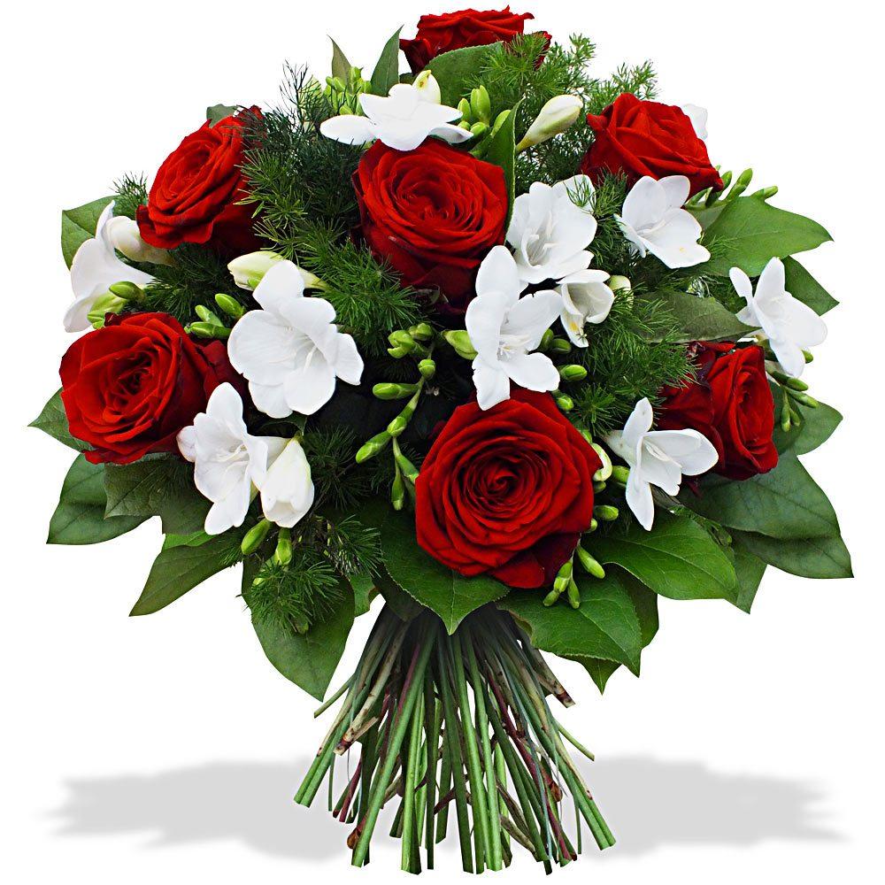 ramo de rosas rojas y fresias